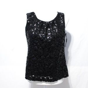 Calvin Klein Black Sequin Sheath Top Small NWOT